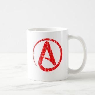 Símbolo ateo rasguñado y llevado del rojo del ateí