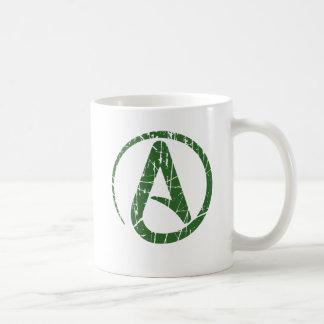 Símbolo ateo rasguñado y llevado del verde del ate