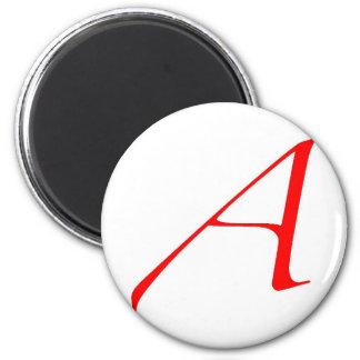 Símbolo ateo (rojo A) Imán Redondo 5 Cm