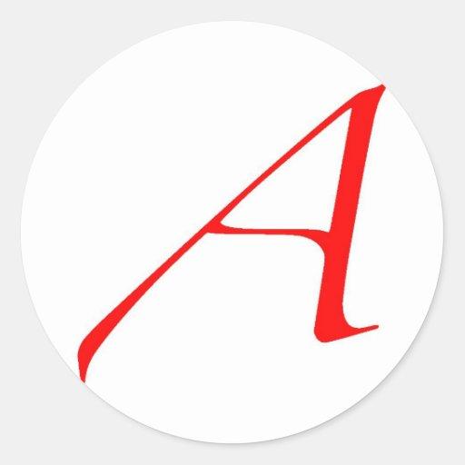 Símbolo ateo (rojo A) Pegatina Redonda