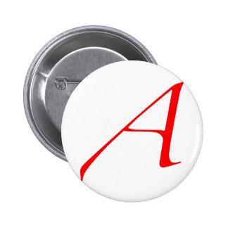 Símbolo ateo (rojo A) Pin Redondo De 2 Pulgadas