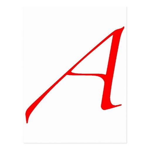 Símbolo ateo (rojo A) Postal