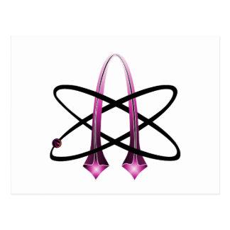 Símbolo ateo rosado postal