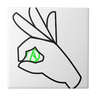 Símbolo ateo verde de la mano azulejo cuadrado pequeño