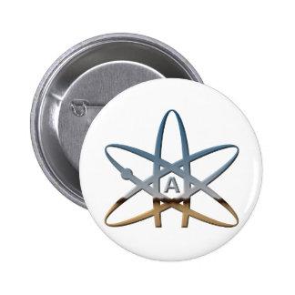 Símbolo atómico ateo de Logidea Pin Redondo De 2 Pulgadas