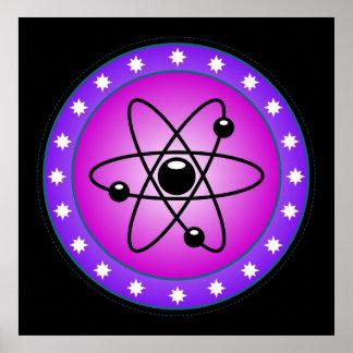 Símbolo atómico en un fondo rosado póster