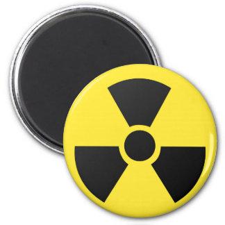 Símbolo atómico nuclear de la radiación radiactiva imán redondo 5 cm