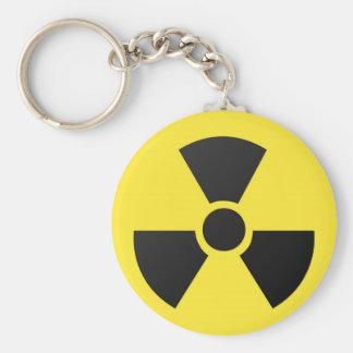 Símbolo atómico nuclear de la radiación radiactiva llavero redondo tipo pin