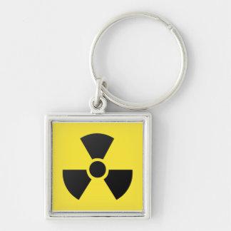 Símbolo atómico nuclear de la radiación radiactiva llavero cuadrado plateado