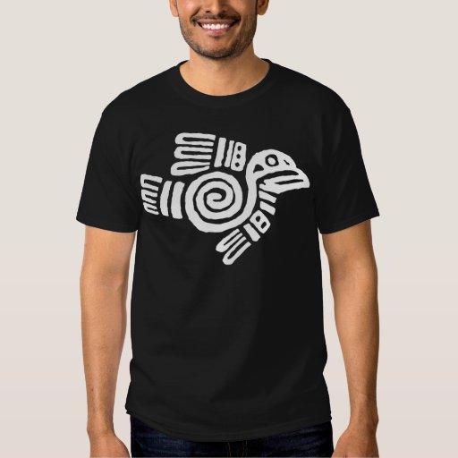 Símbolo azteca blanco del pájaro playeras