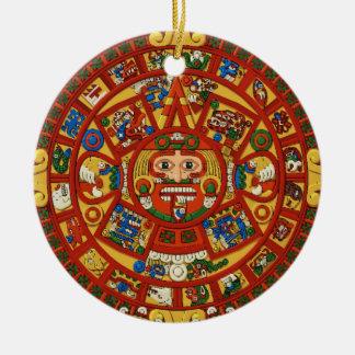 Símbolo azteca maya antiguo ornamento para arbol de navidad