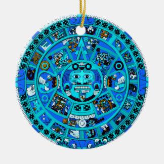 ¡Símbolo azteca maya antiguo - extremo del mundo?! Adorno Navideño Redondo De Cerámica