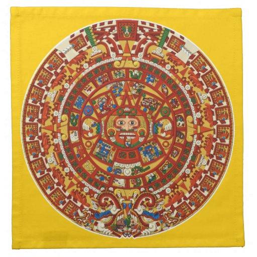 Símbolo azteca maya antiguo servilleta imprimida