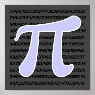 Símbolo azul de la lavanda pi poster