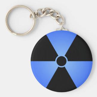 Símbolo azul de la radiación llavero redondo tipo pin