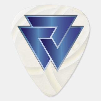 Símbolo azul de Valknut de los nórdises - imagen Púa De Guitarra