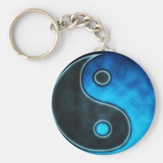 Símbolo azul de Yin Yang Llavero Redondo Tipo Pin