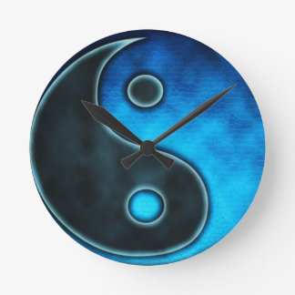 Símbolo azul de Yin Yang Relojes De Pared
