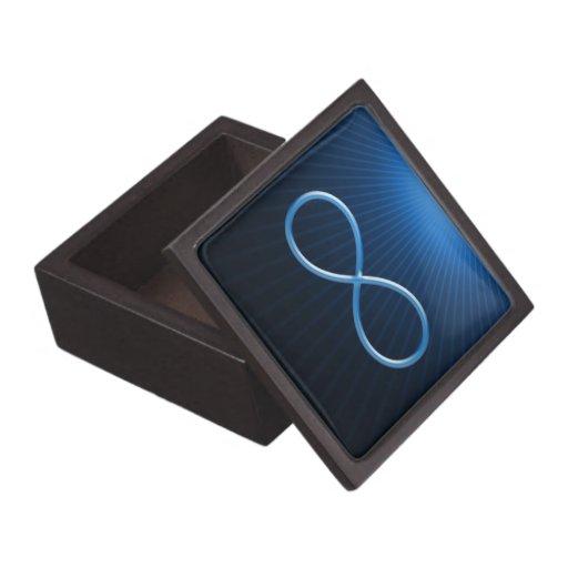 Símbolo azul del infinito en fondo azul marino cajas de regalo de calidad