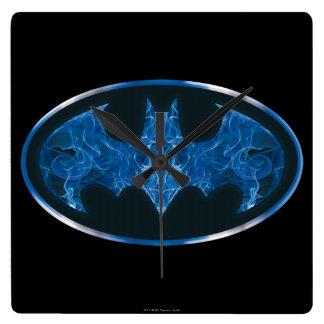 Símbolo azul del palo del humo reloj cuadrado