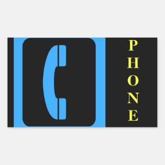 Símbolo azul del teléfono pegatina rectangular