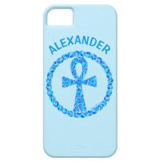 Símbolo azul Egipto antiguo Wicca de Ankh iPhone 5 Protectores