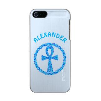 Símbolo azul Egipto antiguo Wicca de Ankh Carcasa De Iphone 5 Incipio Feather Shine