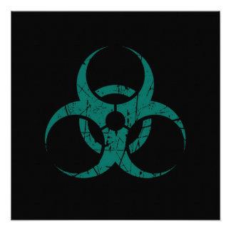 Símbolo azul rasguñado del Biohazard del trullo en Invitación Personalizada