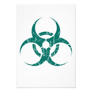 Símbolo azul rasguñado del Biohazard del trullo Comunicado