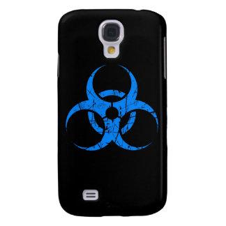 Símbolo azul rasguñado del Biohazard en negro Funda Para Galaxy S4