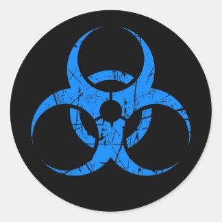 Símbolo azul rasguñado del Biohazard en negro Pegatina Redonda