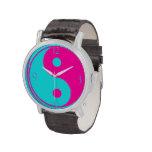 Símbolo azul rosado de neón del espiritual de Yin Reloj