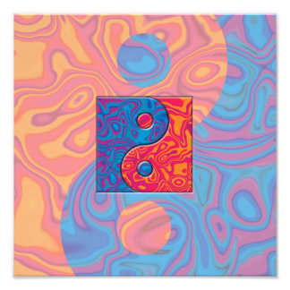 Símbolo azul y anaranjado de Yin Yang Fotografía