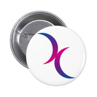 Símbolo bisexual de la luna pin redondo de 2 pulgadas