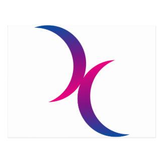 Símbolo bisexual de la luna tarjeta postal