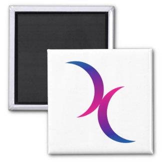 Símbolo bisexual del orgullo de la luna creciente  imán cuadrado