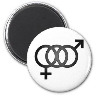 Símbolo bisexual negro imán redondo 5 cm