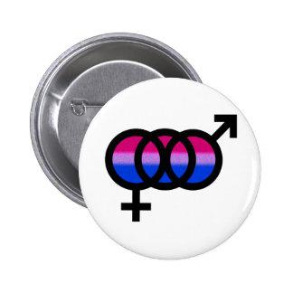 Símbolo bisexual pin redondo de 2 pulgadas