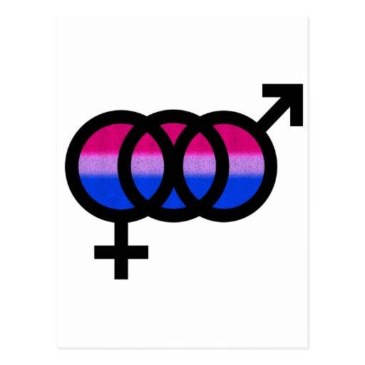 Símbolo bisexual postales