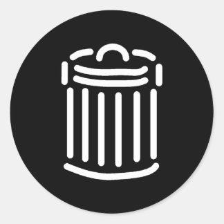 Símbolo blanco del bote de basura (para los fondos pegatina redonda