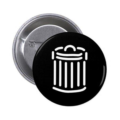 Símbolo blanco del bote de basura pin redondo 5 cm