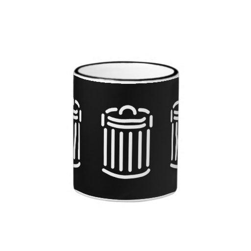 Símbolo blanco del bote de basura taza