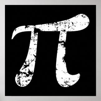 Símbolo blanco del Grunge pi Póster