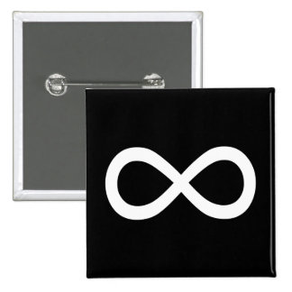 Símbolo blanco del infinito pin cuadrado