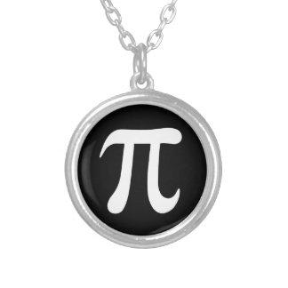 Símbolo blanco del pi en fondo negro joyerías