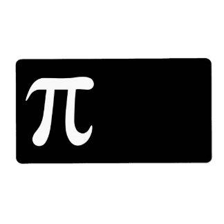 Símbolo blanco del pi en fondo negro etiquetas de envío