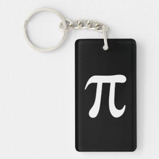 Símbolo blanco del pi en fondo negro llavero rectangular acrílico a una cara