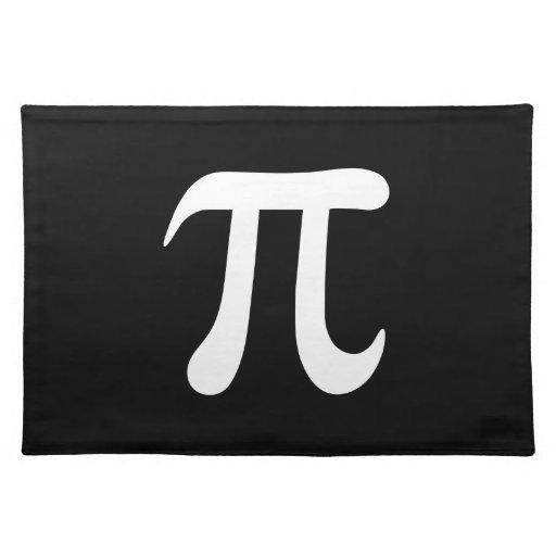 Símbolo blanco del pi en fondo negro mantel individual