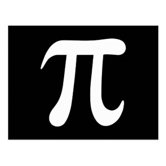 Símbolo blanco del pi en fondo negro postal