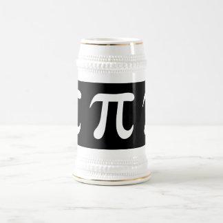 Símbolo blanco del pi en fondo negro jarra de cerveza